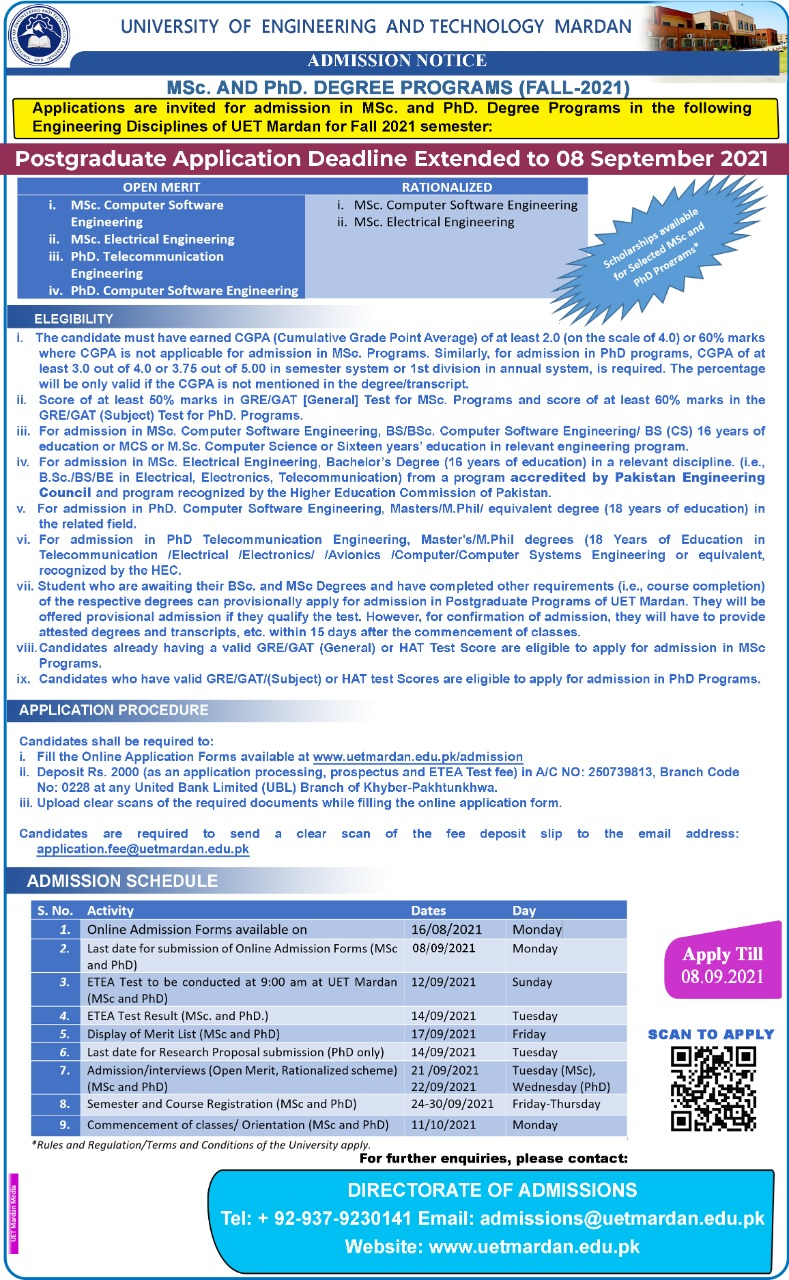 MS Phd Admissions